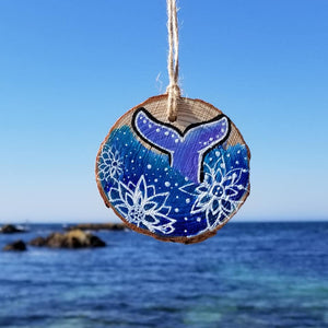 Handpainted Ornament on Wood - Whale Tail