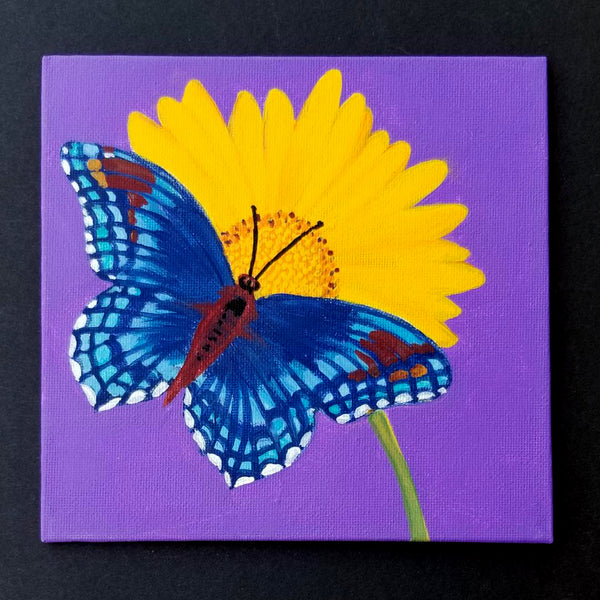 "6"" Butterfly on Purple - Original Painting"
