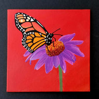 "6"" Butterfly on Red - Original Painting"