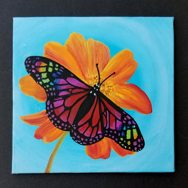 "6"" Butterfly on Blue - Original Painting"