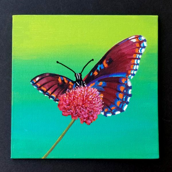 "6"" Butterfly on Yellow/Green - Original Painting"