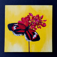 "6"" Butterfly on Yellow - Original Painting"