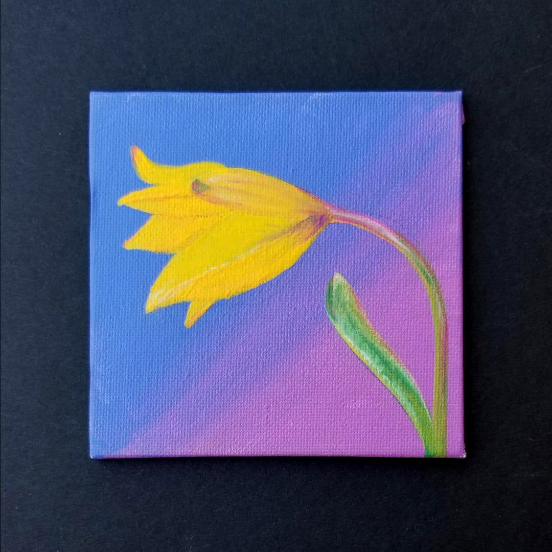 "4"" Yellow Flower - Original Painting"