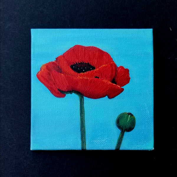 "4"" Red Flower - Original Painting"
