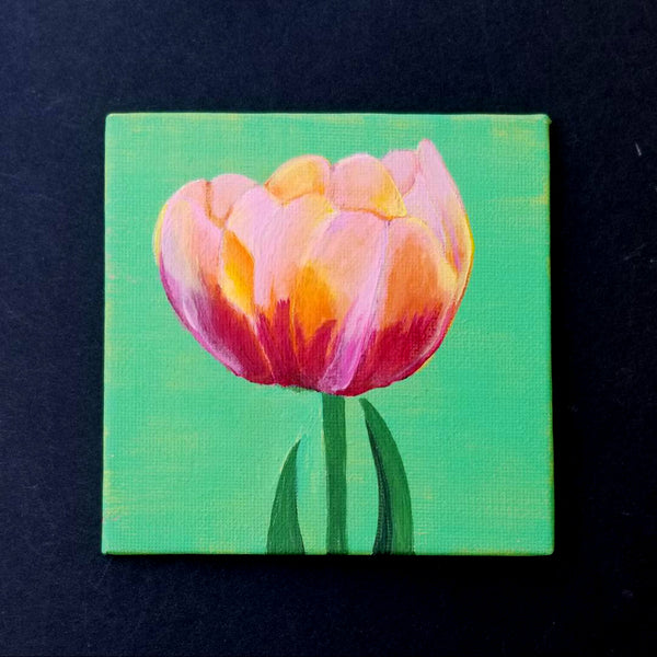 "4"" Pink/Yellow Flower - Original Painting"