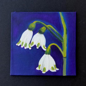 "4"" White Flower - Original Painting"