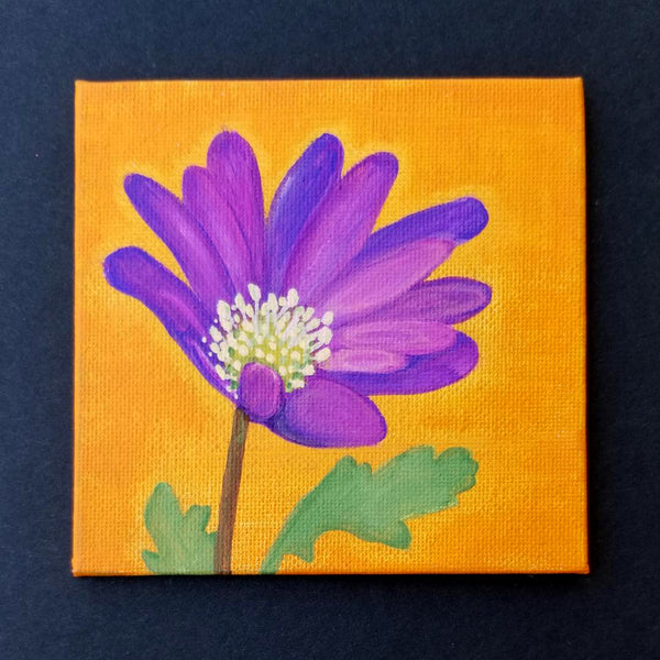 "4"" Purple Flower - Original Painting"