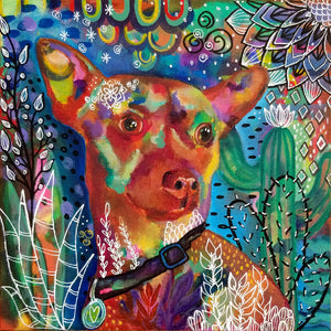 Original Art Whimsical and Colorful Dog Print - Chihuahua Rat Terrier mix inspired
