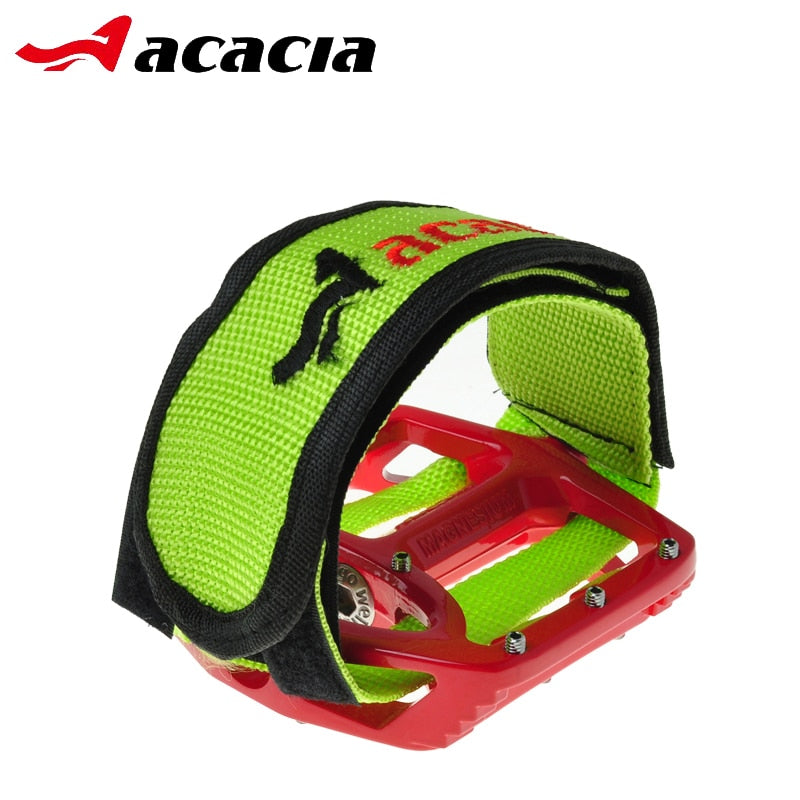 ACACIA 1 Pair Embroidery Bike Pedal Belt Protect Fixed Gear MTB Bicycle Anti-slip Double Adhesive Straps Pedal Toe Clip Strap