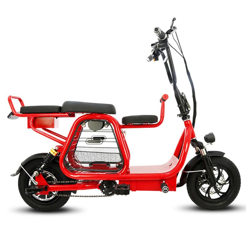 Electric Scooter With Seat/Pet Basket For Adult Portable Two Wheels 400W 48V High Carbon Steel 12'' Electric Bike Bicycle