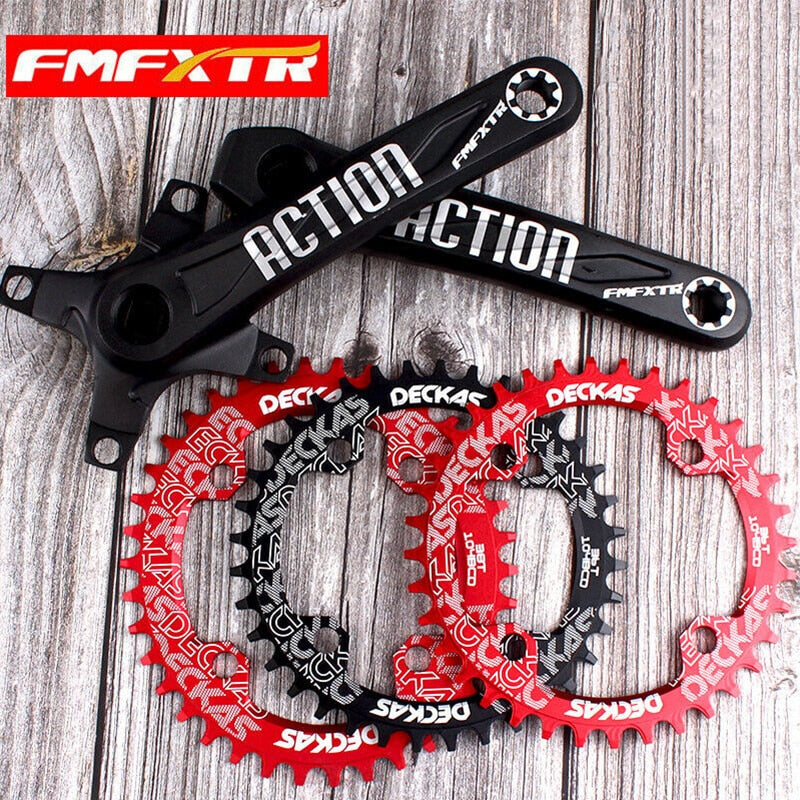 MTB Bike Crankset Narrow Wide 104BCD Chainring 170mm Crank Single Speed 32T-38T Aluminum Alloy Mountain Road Bicycle Accessories