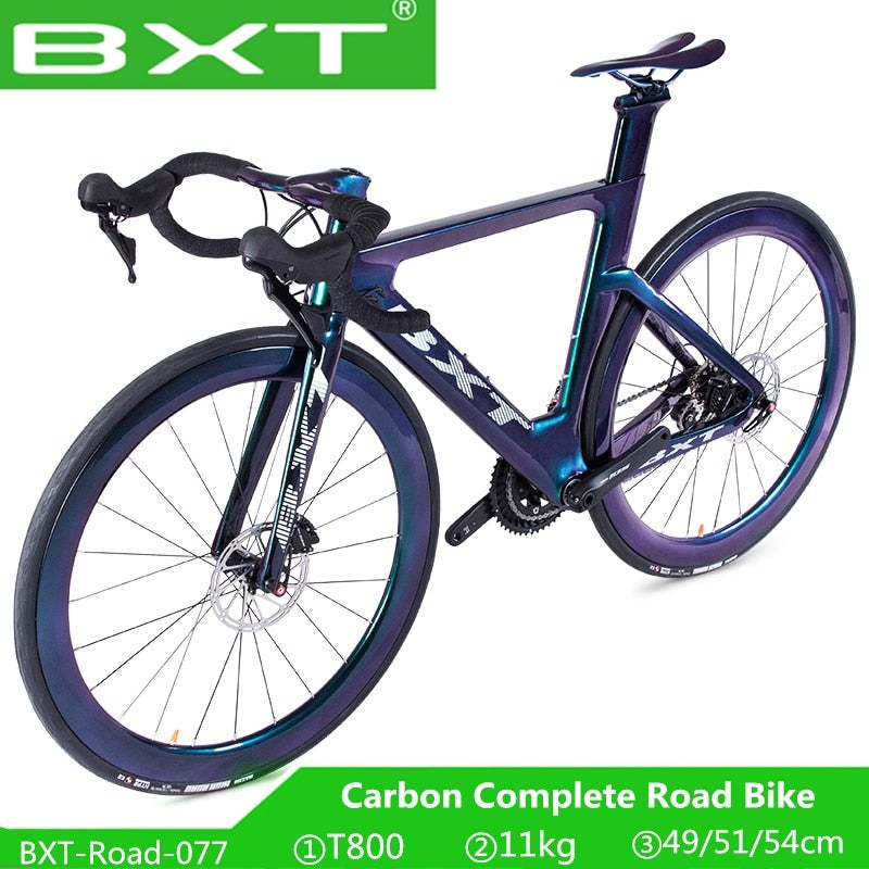 BXT Road Bike 700C Carbon Racing Bicycle T800 Carbon Frame Fork 2*11S Disc brake bicicleta Ultra-light Chameleon Road Bicycle