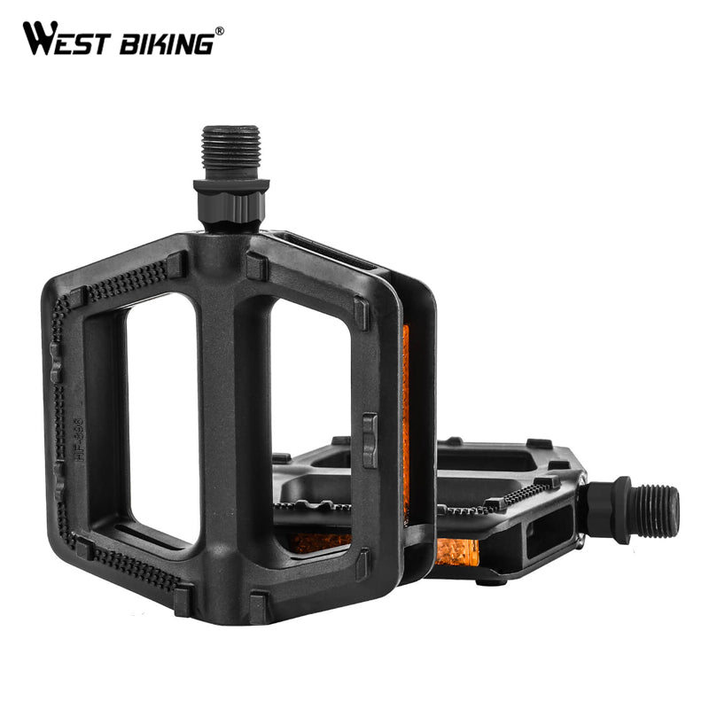 WEST BIKING 1 Pair High Quality Portable MTB Bike Bicycle Pedals Plastic Road Bike Double DU Pedals Cycling Mountain Bike Parts