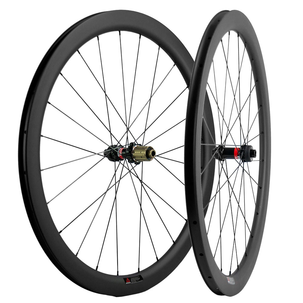 700C Disc Brake Carbon Wheelset 45mm Road Bike Clincher 25mm Wheels THRU AXLE ship from USA
