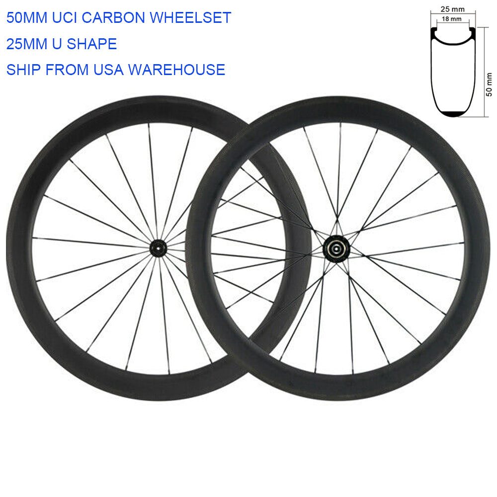 High TG Clincher 50mm Carbon Wheelset Road Bike 700C 25mm R13 hub Carbon Wheels in USA stock