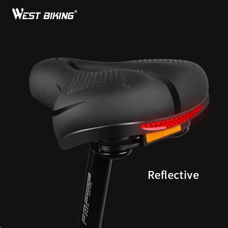 WEST BIKING Bicycle Saddle MTB Bike Seat Waterproof Soft Seat Cushion Bike Accessories PVC Steel Hollow Wide Cycling Saddles