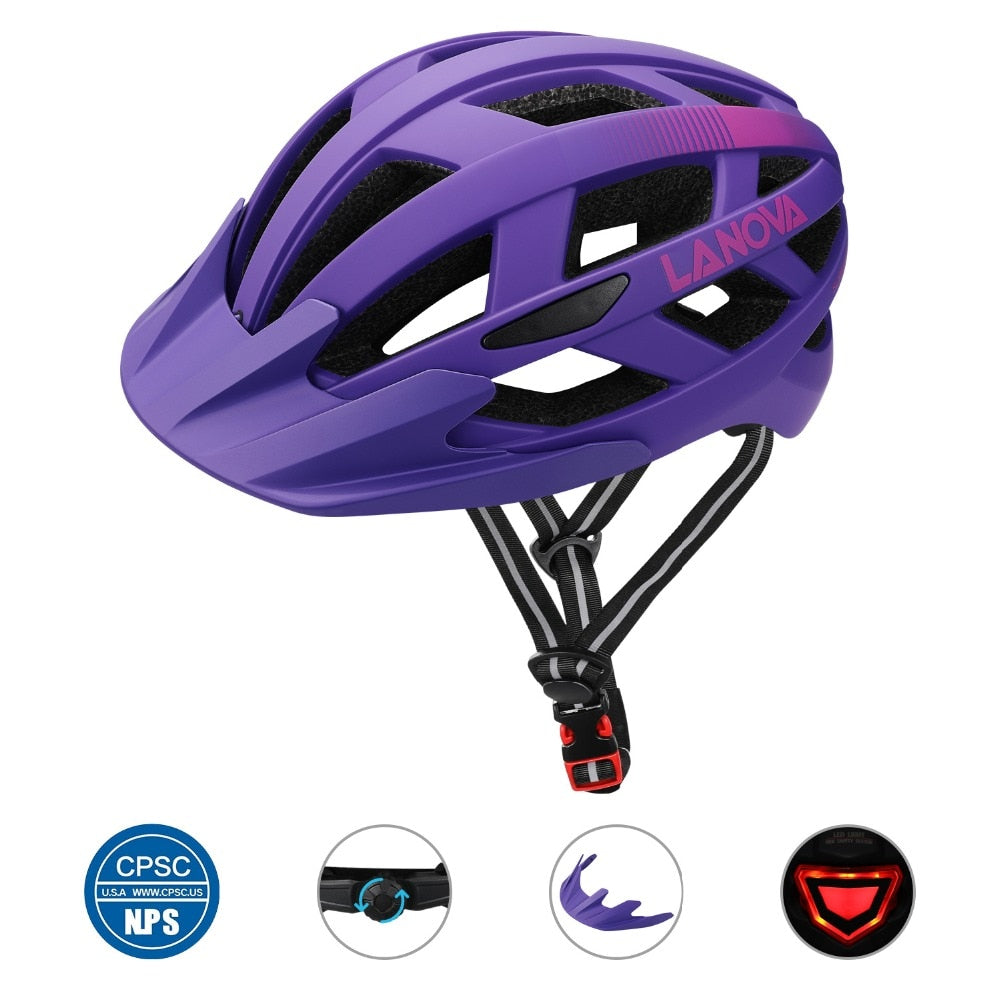 LANOVA bike helmet black matte men and women bicycle helmet rear light mountain road cycling molding S.M.L size w-019