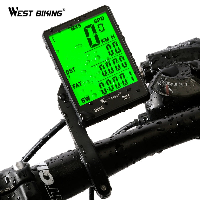 "WEST BIKING 2.8"" Large Screen Bicycle Computer Wireless Wired Bike Computer Rainproof Speedometer Odometer Stopwatch for Cycling"