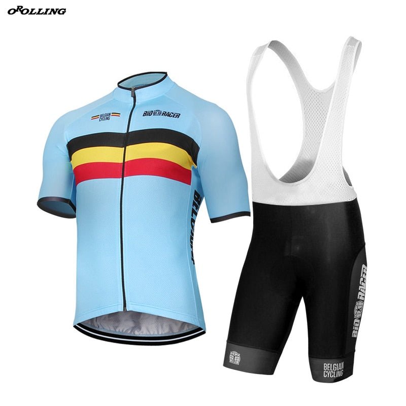 New CLASSICAL Belgium Belgian Pro Team Cycling Jersey Set Shorts Customized Road Mountain Race OROLLING