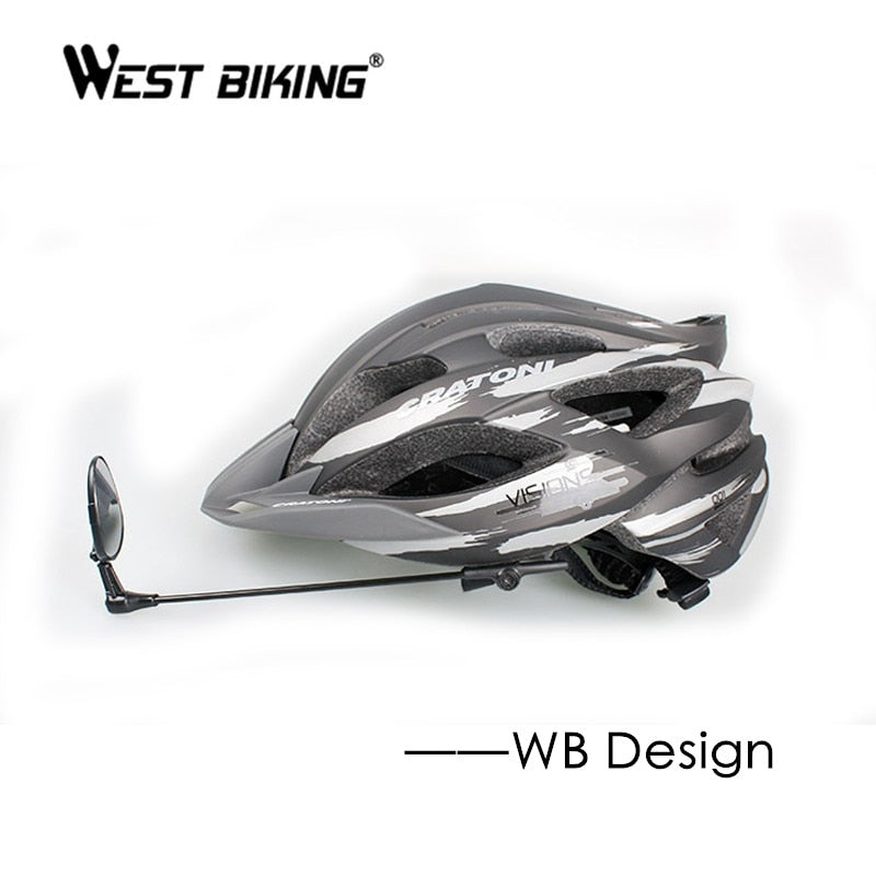 WEST BIKING Bike Helmet Mirror Adjustable Angle MTB Road Bicycle Cycling Rear View Mirror No Helmet Mini Rearview Helmet Mirrors
