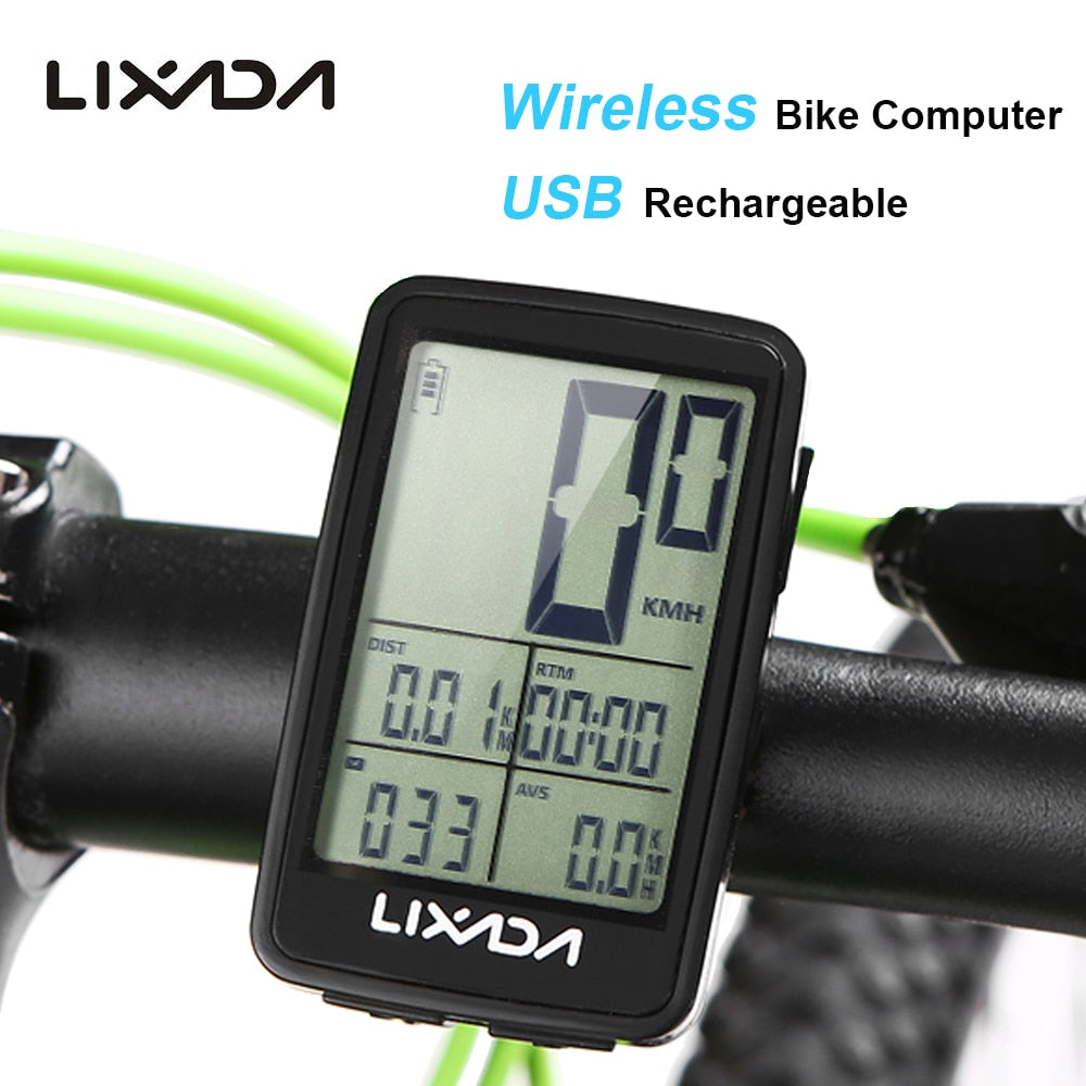 Lixada Rainproof MTB Bike Cycling Computer USB Rechargeable Wireless Bicycle Speedometer Odometer Bike Temperature Stopwatch