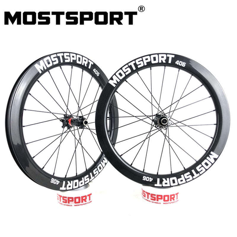 MOSTSPORT 20inch 406 Disc Carbon Wheels For Folding Bicycle Super Light Weight Novatec HUBS Sapim Spoke