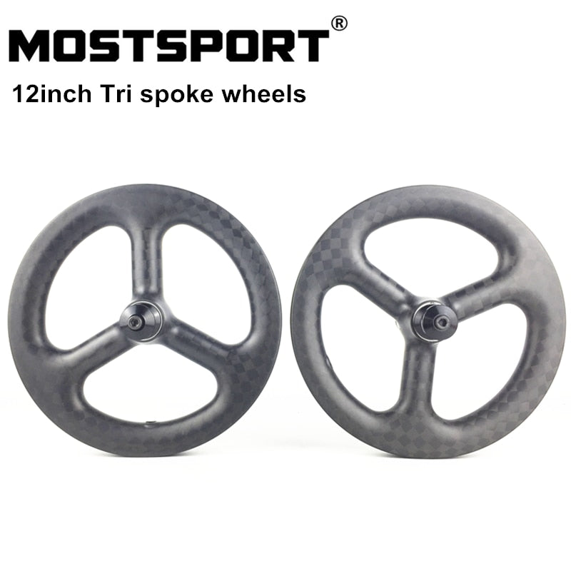 12inch Tri Spoke Carbon Wheels For Balance Bike/Strider/Kokua/Puky/Bixbi Push Bike