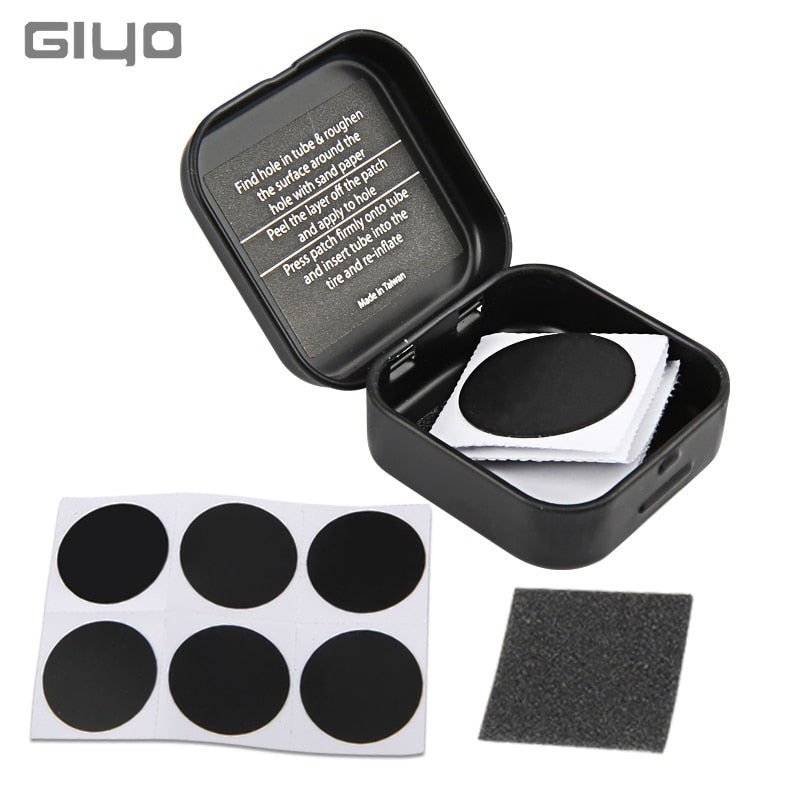 Giyo Bicycle Glueless Tire Patch Mountain Bike Tyre Repair Patches Kit 6pcs Set Cycling Road Bike Inner Tube Repairing Tire Pad