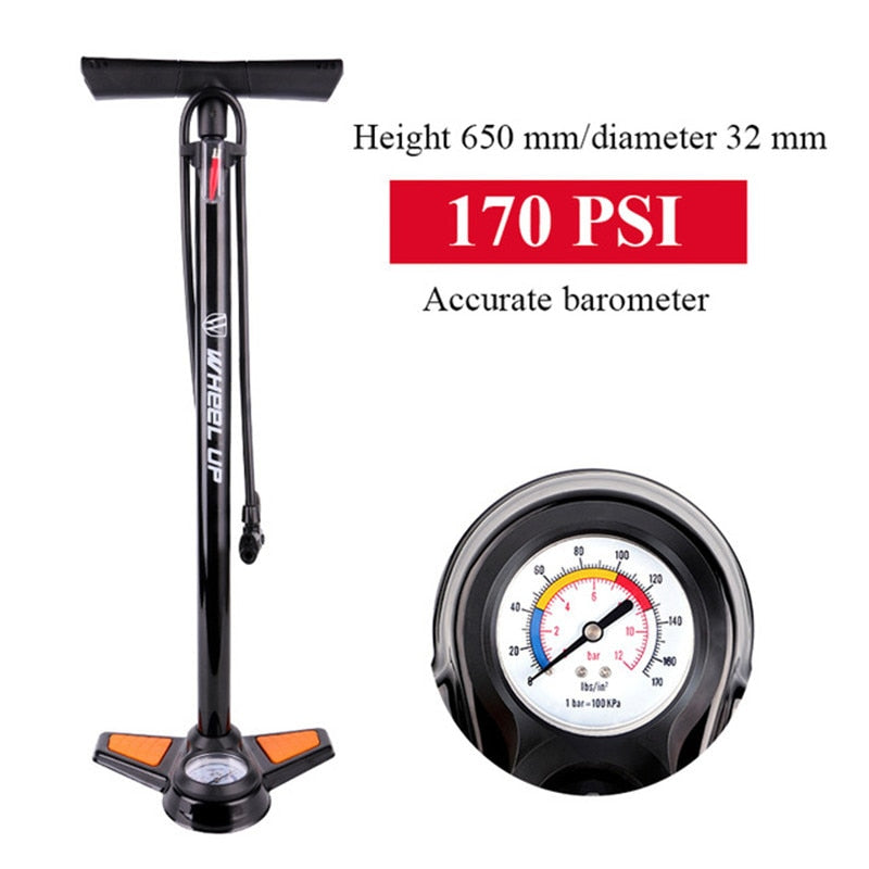 WHEEL UP Bicycle Pump 170PSI Portable Lightweight Aluminum Alloy Schrader Presta Valve Handle Inflator Front Fork Bike Pump