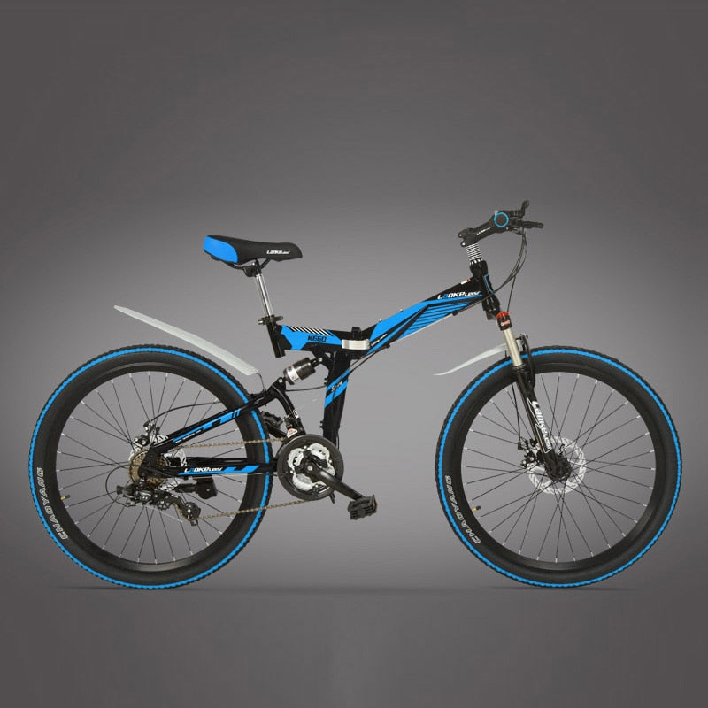 Big Discount for New Type, 21 Speeds, 24/26 inches, Folding Bike, Lockable, Full Suspension, Double Disc Brake, Mountain Bike.