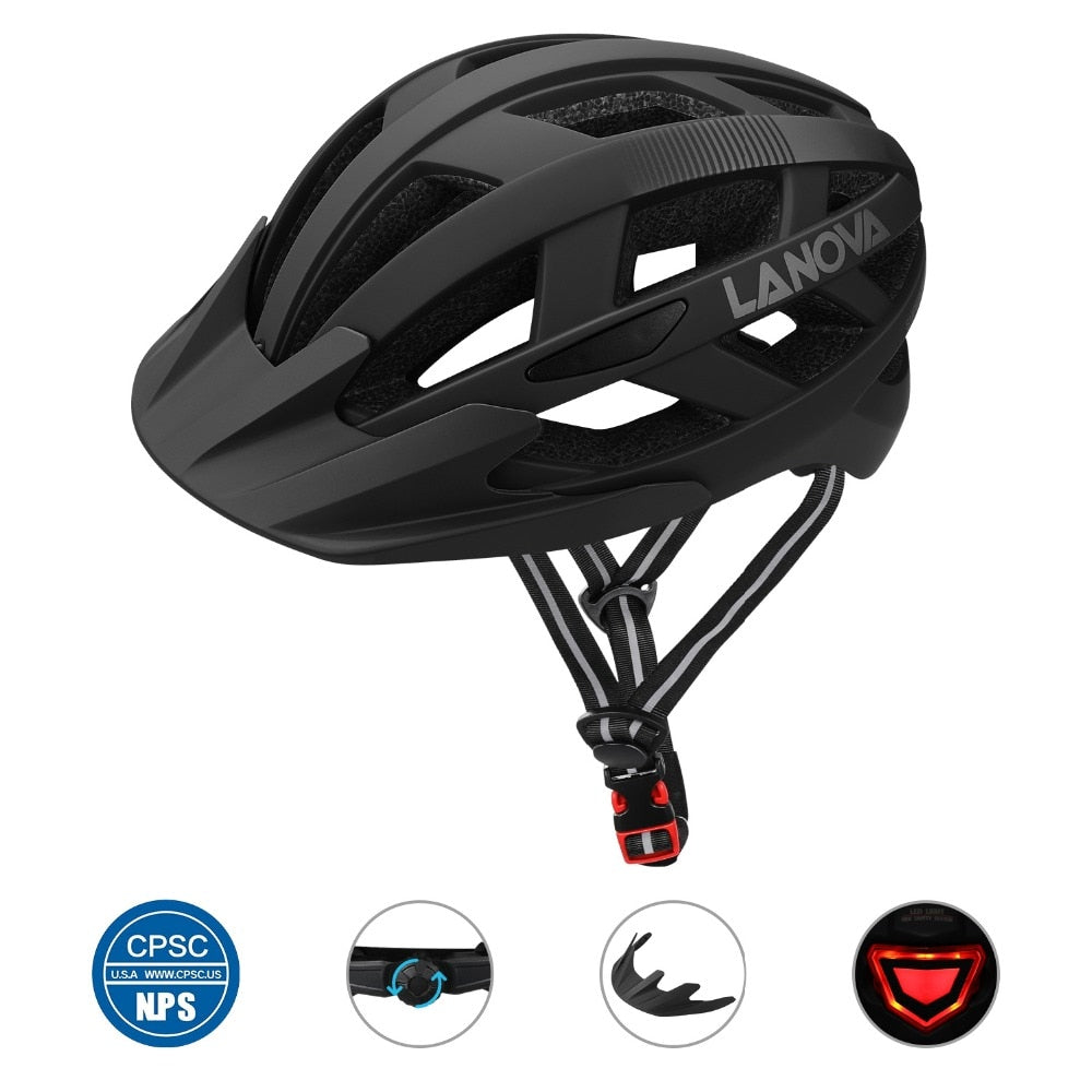 LANOVA Cycling Helmet Bike Helmet USB Rechargeable LED Lights, Bicycle Helmet Road MTB Helmet Adult Ultralight Integrally-Molded