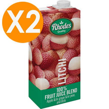 Rhodes Litchi 100% Natural Juice 1L X2