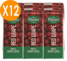 Rhodes Red Grape 100% Natural Juice 200ml X12