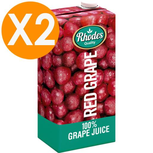 Rhodes Red Grape 100% Natural Juice 1 Liter X2