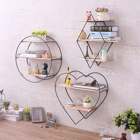 Iron Wooden Wall Mounted Book Storage Rack