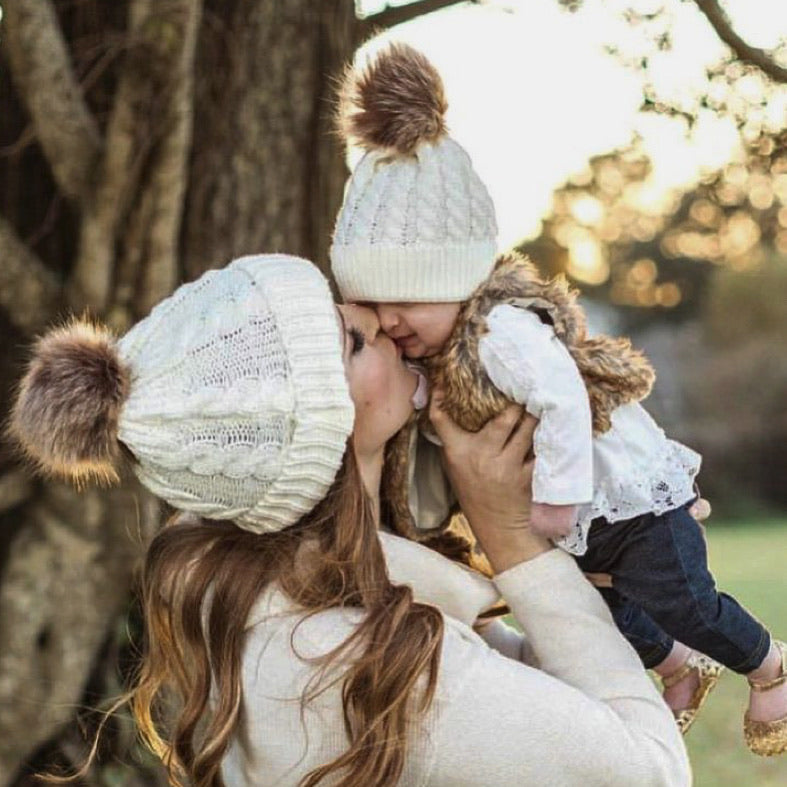 Mama and Mini (Baby) Matching Luxury Pom Pom Hats