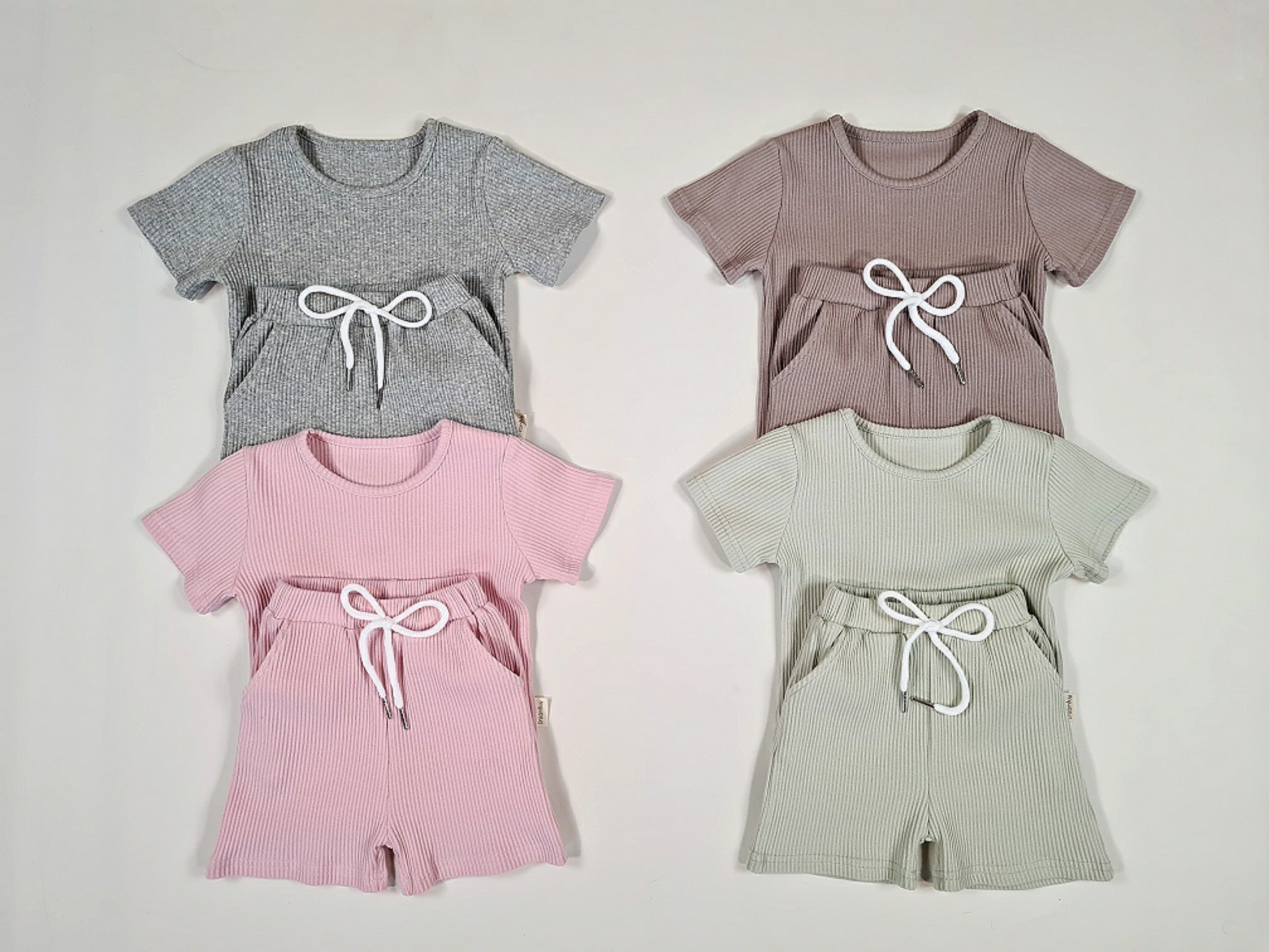 Ribbed Cotton Summer Set- Taupe