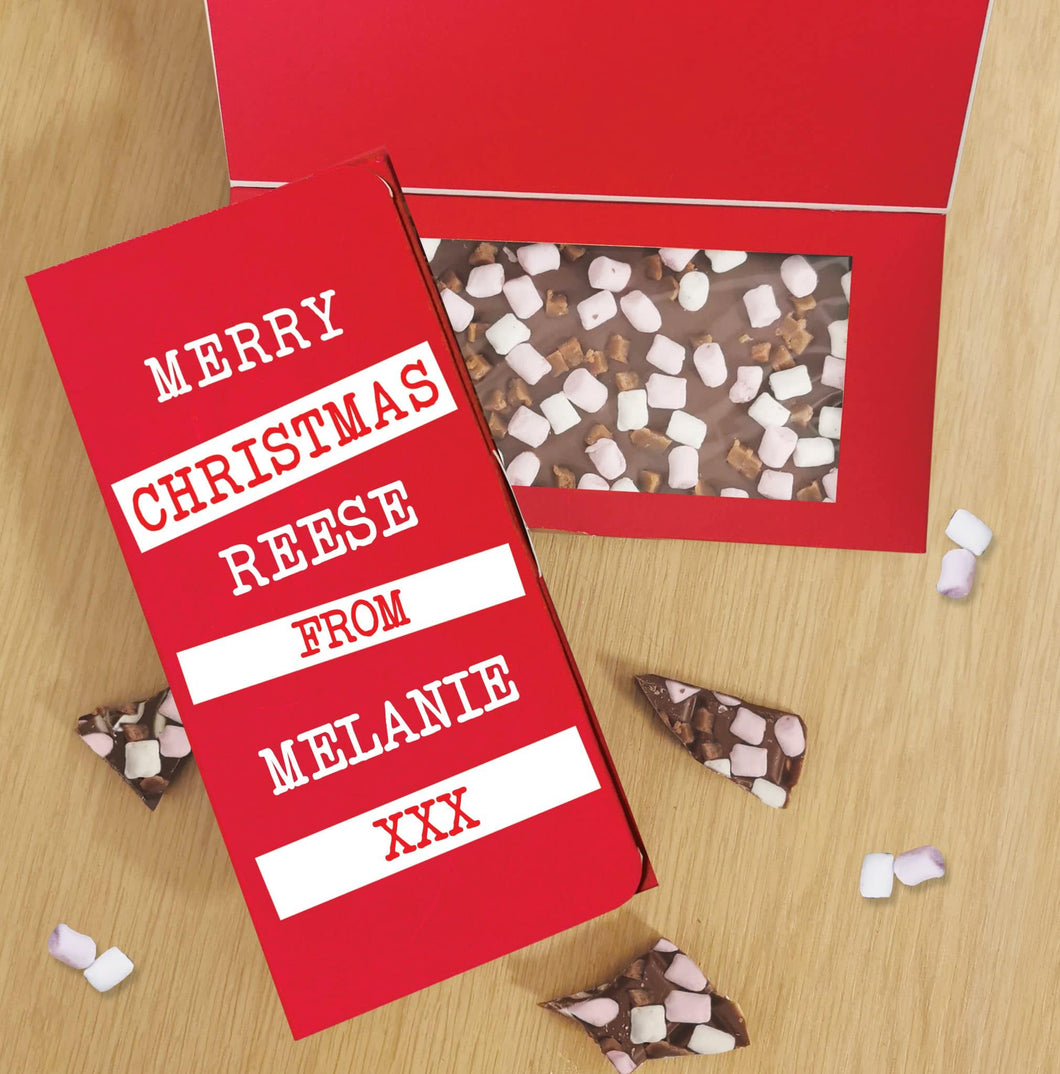 Merry Christmas Block out Milk Chocolate Card