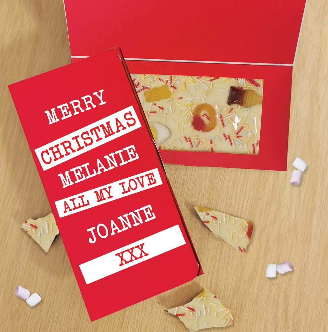Merry Christmas Block out White Chocolate Card