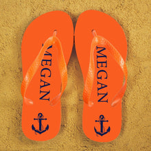 Load image into Gallery viewer, Anchor style Personalised Flip Flops in Orange and Blue - One of a Kind Gifts UK