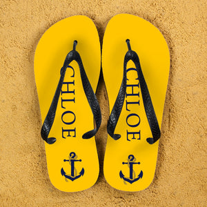 Anchor style Personalised Flip Flops in Yellow and Blue - One of a Kind Gifts UK