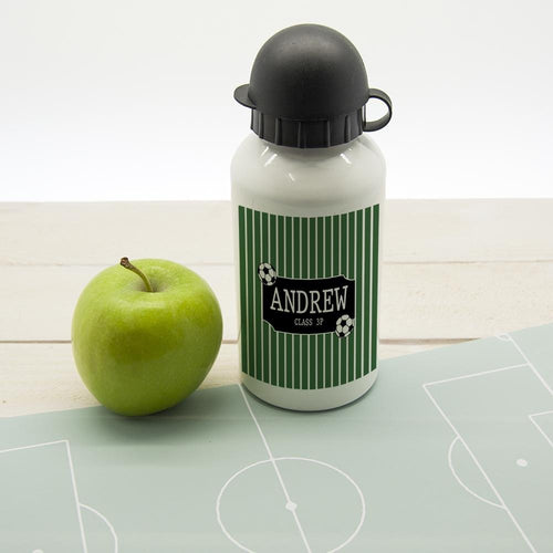 Boys Football Striped Personalised Water Bottle - One of a Kind Gifts UK