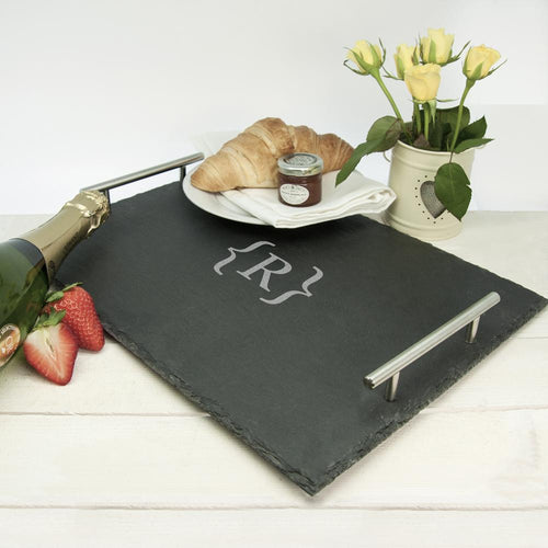 Breakfast In Bed Slate Tray - Brackets Design - One of a Kind Gifts UK