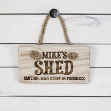 Load image into Gallery viewer, CAUTION: MAN STUFF Personalised Wooden Sign - One of a Kind Gifts UK