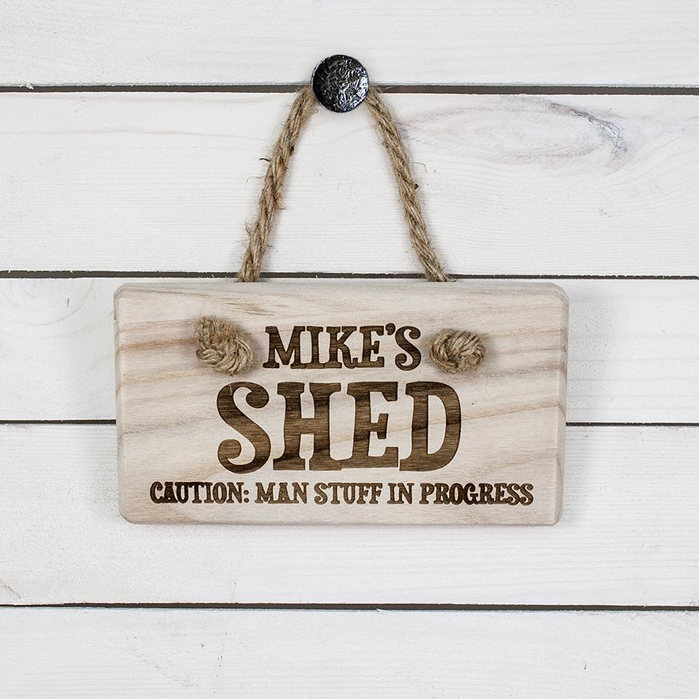 CAUTION: MAN STUFF Personalised Wooden Sign - One of a Kind Gifts UK