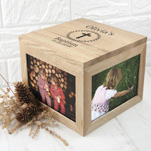 Load image into Gallery viewer, Christening Cross Oak Photo Keepsake Box with Leaf Frame - One of a Kind Gifts UK