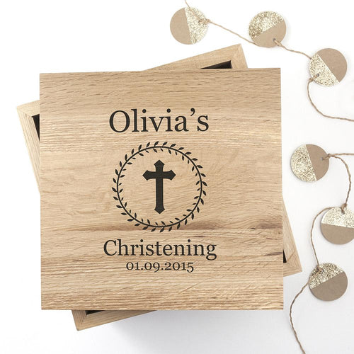 Christening Cross Oak Photo Keepsake Box with Leaf Frame - One of a Kind Gifts UK