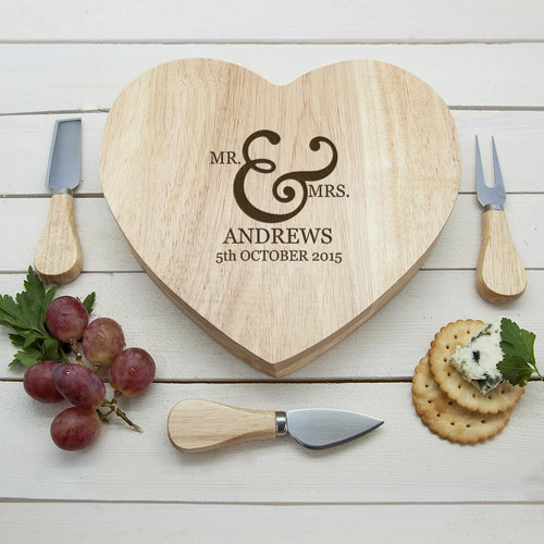 Classic Couples' Romantic Heart Cheese Board - One of a Kind Gifts UK