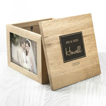 Load image into Gallery viewer, Contemporary Mr & Mrs Oak Photo Keepsake Box - One of a Kind Gifts UK