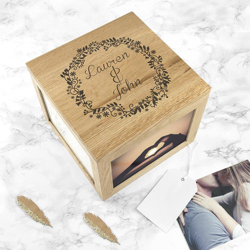 Couples' Oak Photo Keepsake Box with Floral Frame - One of a Kind Gifts UK